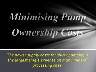 Minimising Pump  Ownership Costs