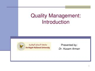 Quality Management: Introduction