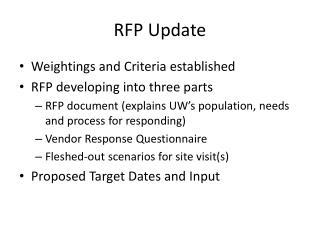 RFP Update