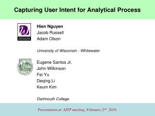Capturing User Intent for Analytical Process