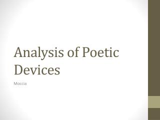 Analysis of Poetic Devices