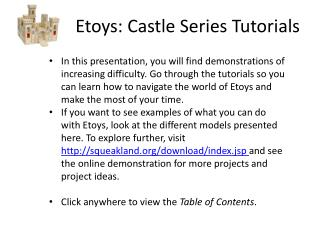 Etoys: Castle Series Tutorials