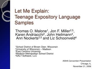 Let Me Explain: Teenage Expository Language Samples