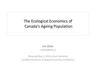 The Ecological Economics  of Canada's Ageing  Population