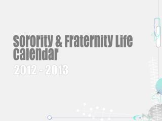 Sorority & Fraternity Life Calendar