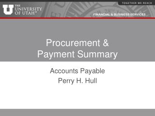 Procurement & Payment Summary