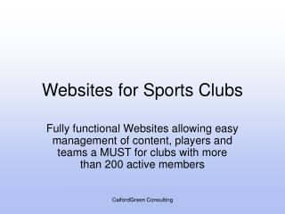 Websites for Sports Clubs