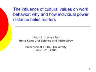 The influence of cultural values on work behavior: why and how individual power distance belief matters