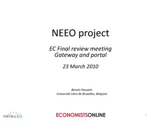 NEEO project EC Final review meeting Gateway and portal 23 March 2010