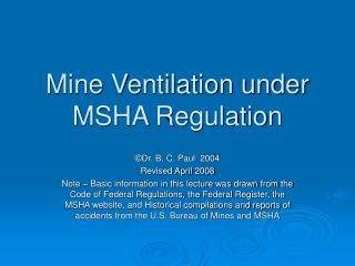 Mine Ventilation under MSHA Regulation
