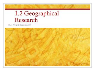 1.2 Geographical Research