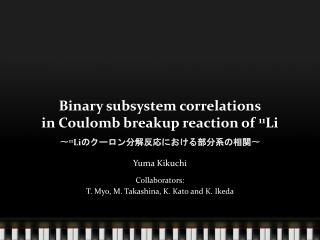 Binary subsystem correlations in Coulomb breakup reaction of  11 Li 〜 11 Li のクーロン分解反応における部