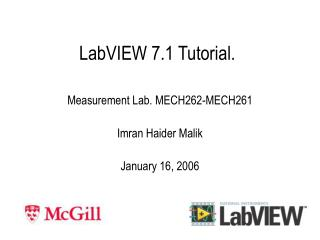 LabVIEW 7.1 Tutorial.