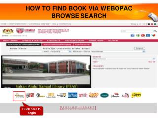 HOW TO FIND BOOK VIA WEBOPAC BROWSE SEARCH
