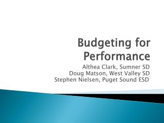 Budgeting for Performance