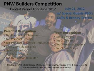 PNW Builders Competition Contest Period  April-June 2012