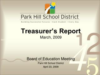 Treasurer's Report March, 2009