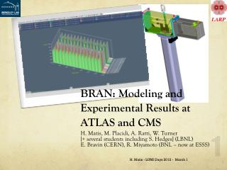BRAN: Modeling and E xperimental  R esults  at ATLAS and CMS