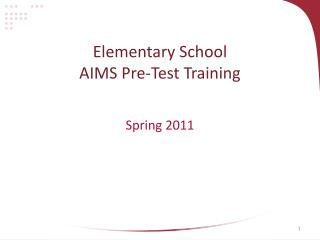 Elementary School AIMS Pre-Test Training