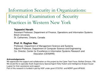 Information Security in Organizations: Empirical Examination of Security Practices in Western New York