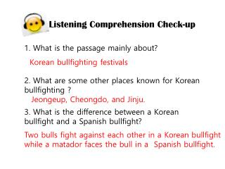 Listening Comprehension Check-up