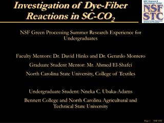 Investigation of Dye-Fiber Reactions in SC-CO 2