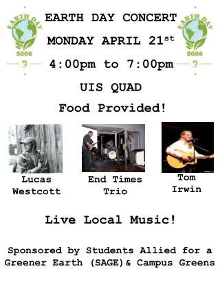 EARTH DAY CONCERT MONDAY APRIL 21st
