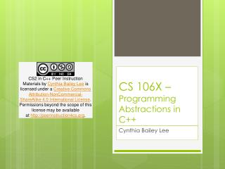 CS 106X –  Programming Abstractions in C++