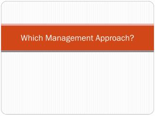 Which Management Approach?