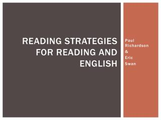 Reading Strategies for reading and  english