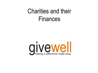 Charities and their  Finances