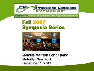 Fall 2007 Symposia Series