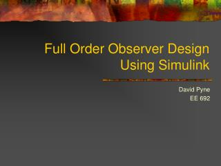 Full Order Observer Design Using Simulink