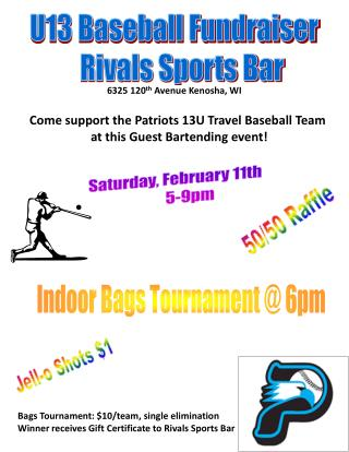 U13 Baseball Fundraiser    Rivals Sports Bar