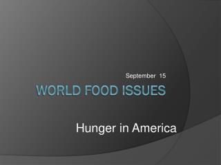 World Food issues