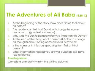 The Adventures of Ali Baba  (4.6B-C)