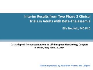 Interim Results from Two Phase 2 Clinical Trials in Adults with Beta-Thalassemia