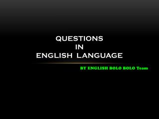 Questions in english language