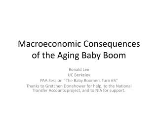 Macroeconomic Consequences of the Aging Baby Boom