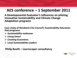 AES  conference – 1 September  2011
