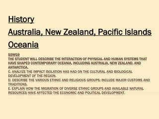 History Australia, New Zealand, Pacific Islands Oceania