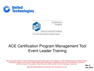 ACE Certification Program Management Tool Event Leader Training