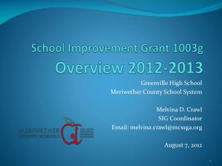 School Improvement Grant 1003g  Overview 2012-2013