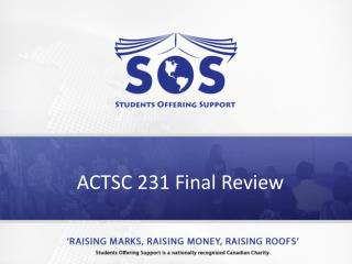ACTSC 231 Final Review