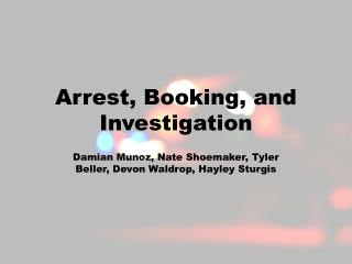 Arrest, Booking, and Investigation
