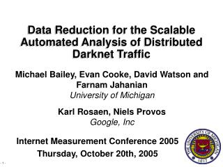 Data Reduction for the Scalable Automated Analysis of Distributed Darknet Traffic