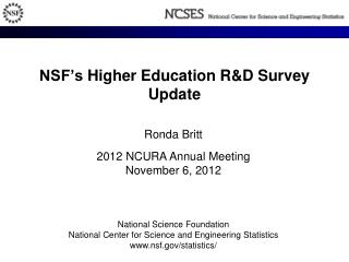 NSF's  Higher Education R&D  Survey Update