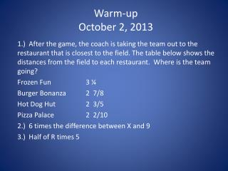Warm-up October 2, 2013