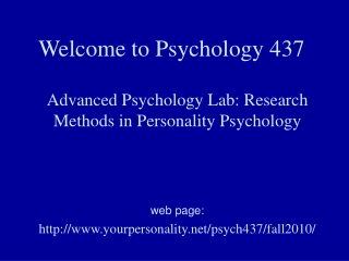 Welcome to Psychology 437