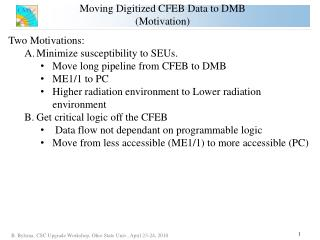Moving Digitized CFEB Data to DMB (Motivation)